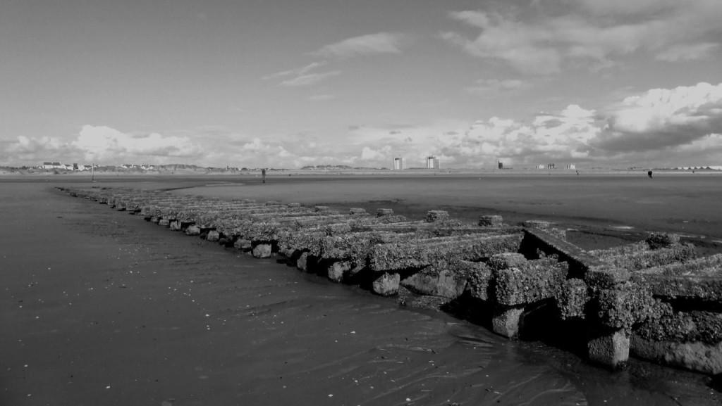 A breakwater on Crosby Beach, Merseyside