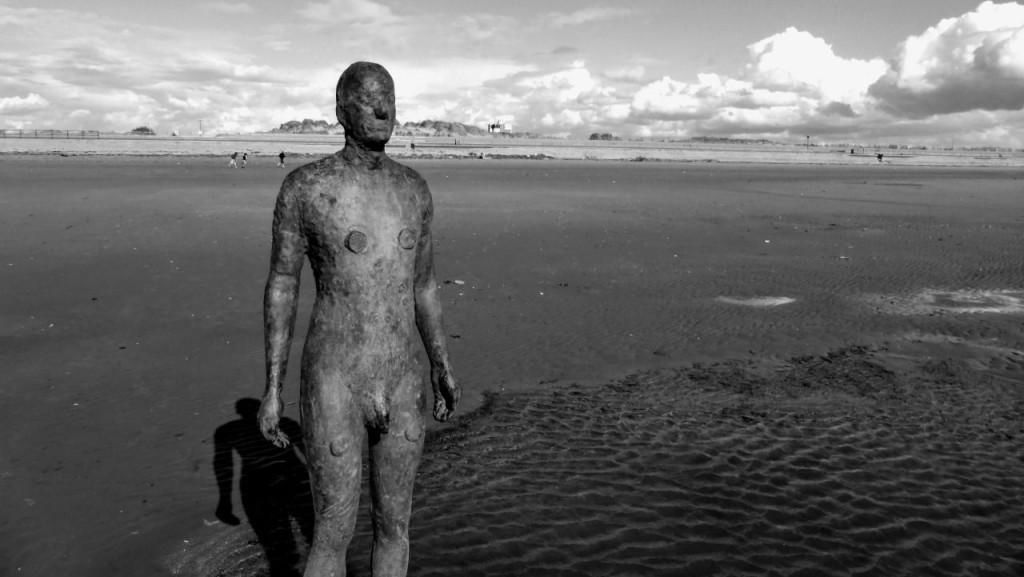 An iron man on Crosby Beach, Merseyside