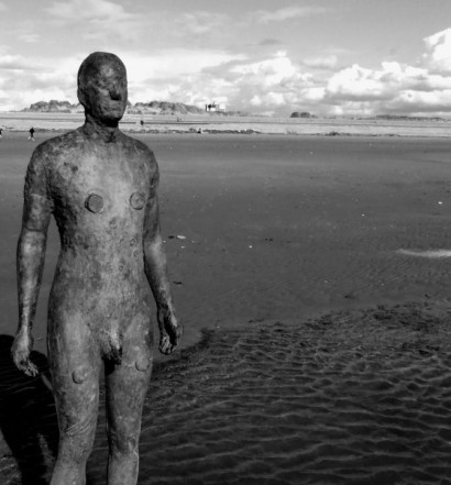 An iron man on Crosby Beach, Merseyside