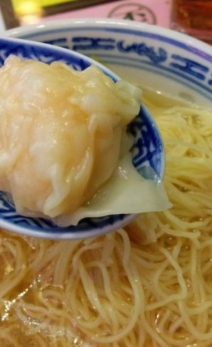 A plump wonton in delicious soup at Mak's Noodle, Hong Kong