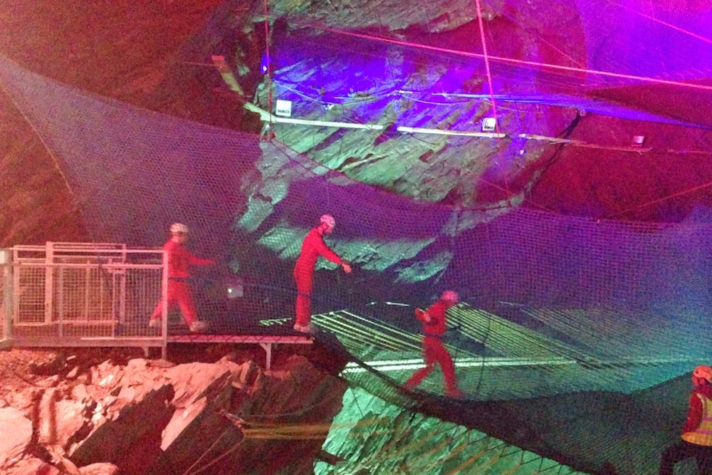 Entering the experience at Bounce Below, Snowdonia