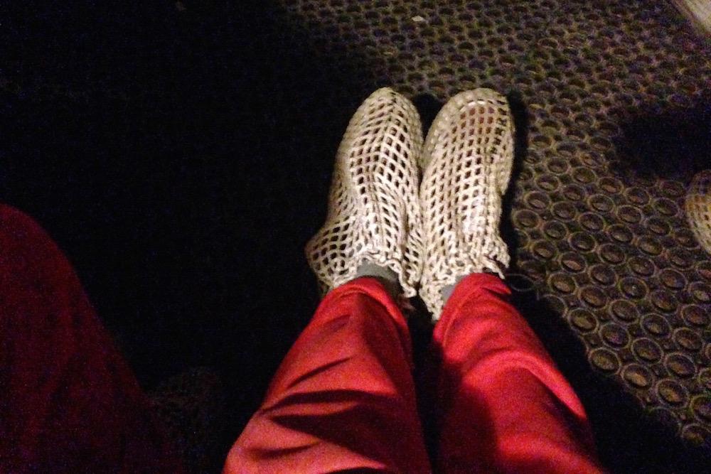 Net Shoe Covers at Bounce Below, Snowdonia