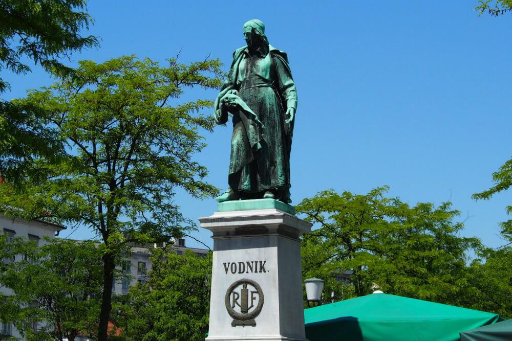 A statue of Vodnik, as seen on a Ljubljana food tour