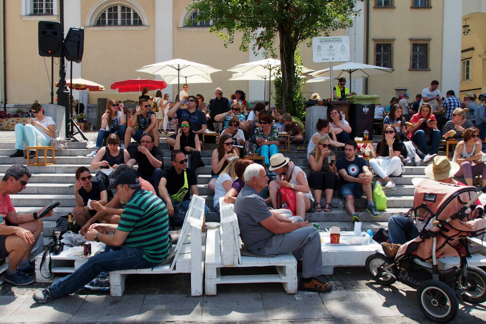 A chilled-out atmosphere pervades throughout the square