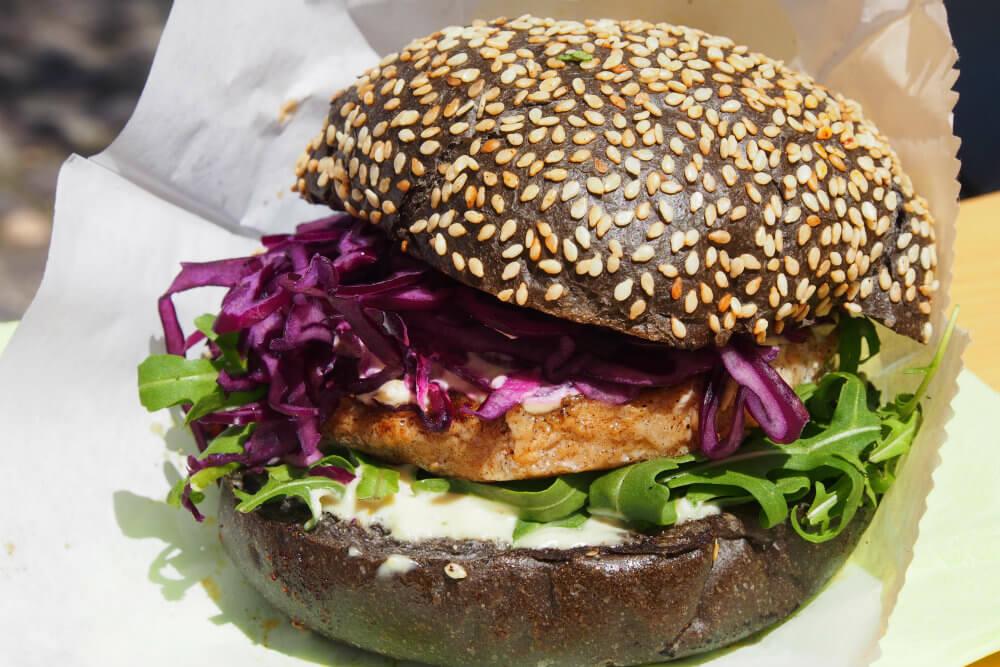 An organic Black Salmon Burger, made entirely in Slovenia