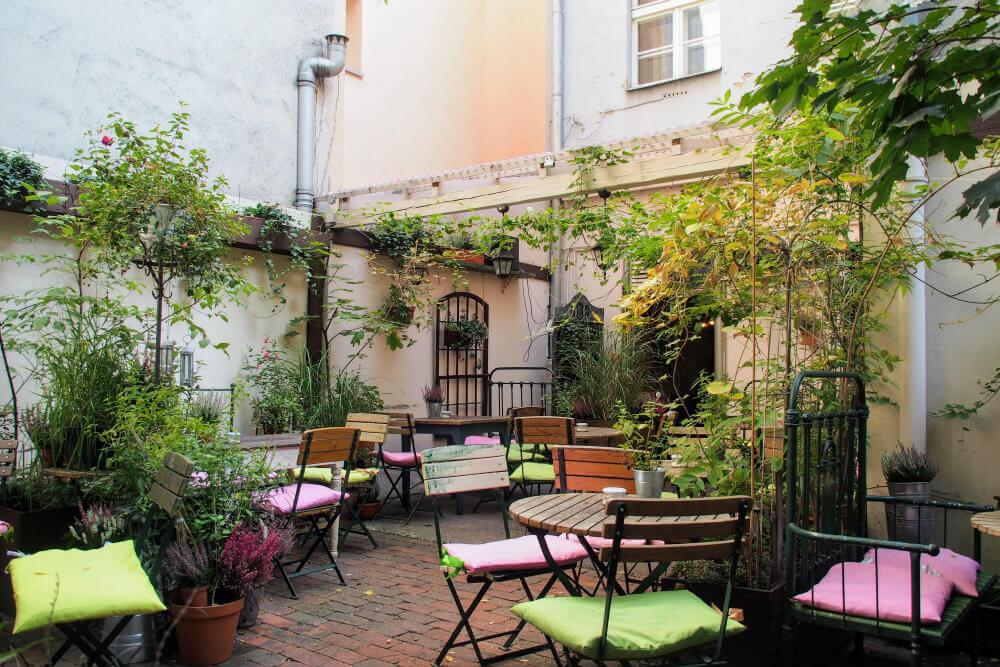 Outdoor seating area at Weranda Cafe, Poznań