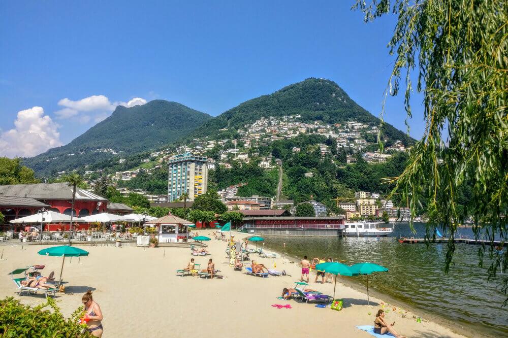 The beach at Lido di Lugano with Monte Brè in the background