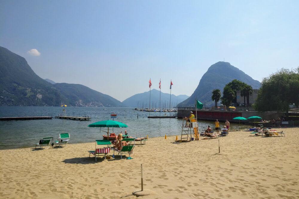 The beach at Lido di Lugano, looking south across Lake Lugano