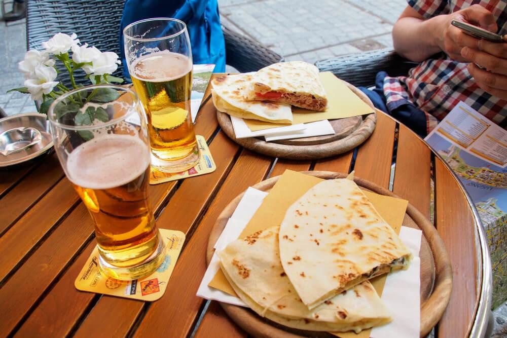 Piadinas and beers at Caffè Caruso, Lugano