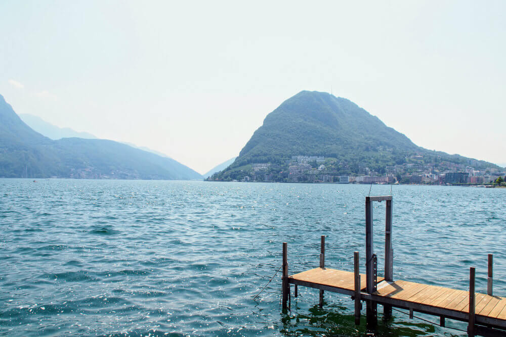 Monte San Salvatore stands tall across the waters of Lake Lugano