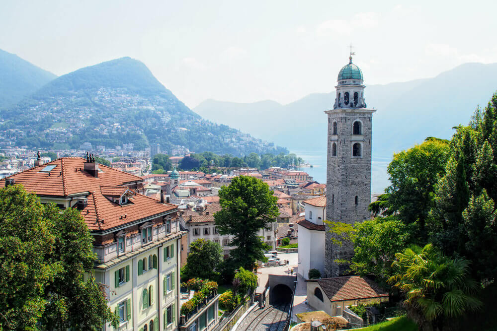 Our first view of the city centre of Lugano, Switzerland