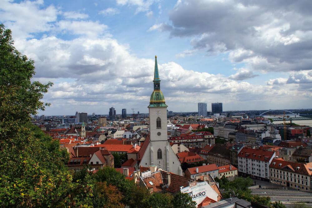 Bratislava's Old Town as seen from Bratislava Castle