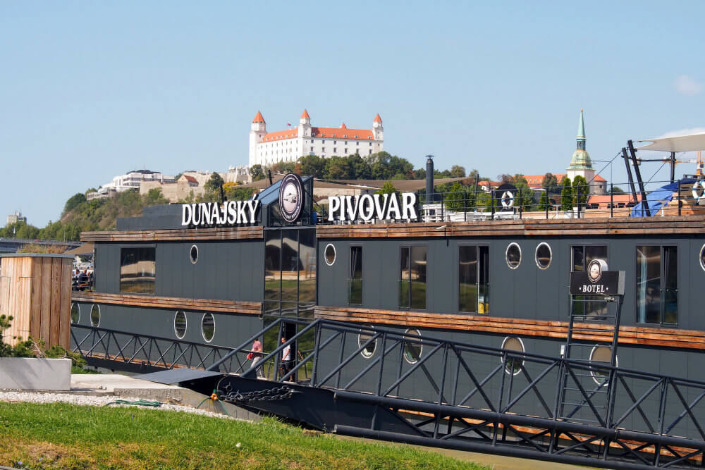 Walk along the gangplank a hop aboard Dunajský Pivovar, Bratislava