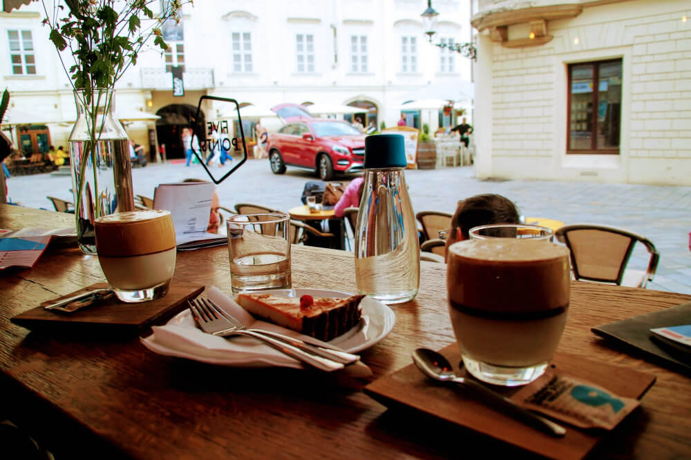 FiVE Points; a trendy cafe in Bratislava serving cake and inverted ice cappuccinos