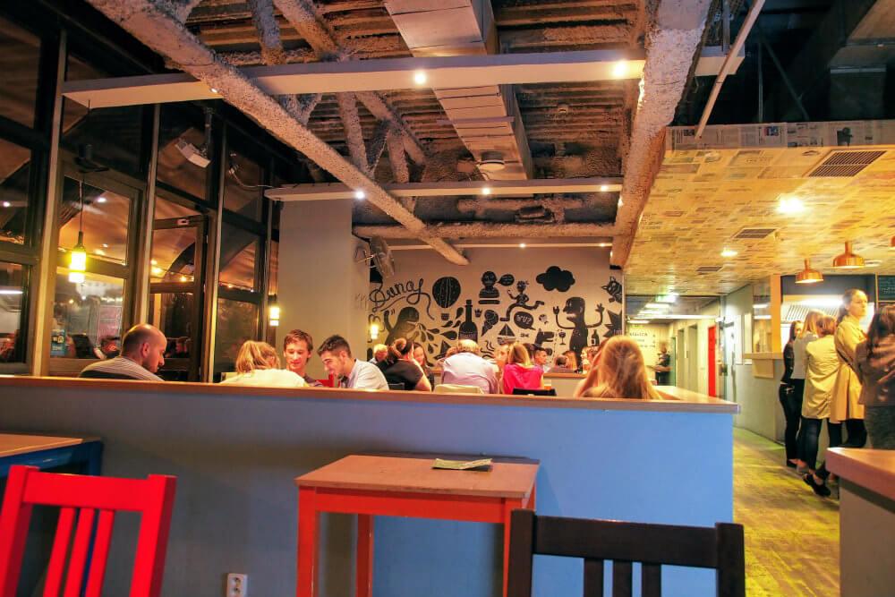 The bar in KC Dunaj, Bratislava hosting a language learning event