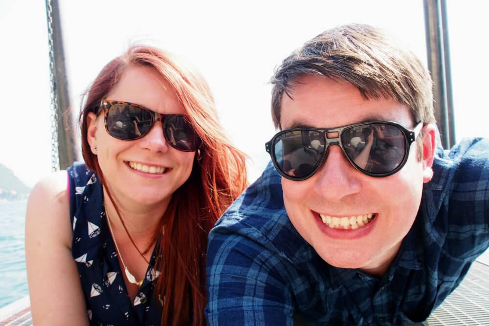 Matt & Jade on a pier in Varenna on Lake Como, Italy