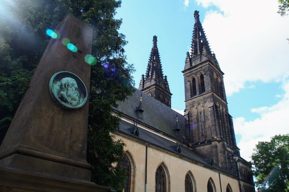 Vyšehrad Cemetery and the Basilica of St Peter and St Paul in Prague, Czech Republic