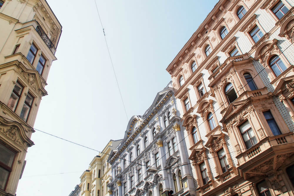 Ornate facades are commonplace along streets in central Vienna
