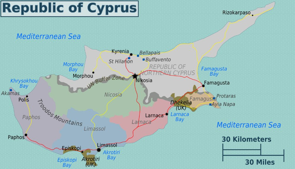 Map of Cyprus, showing the complicated territory boundaries that split the island.