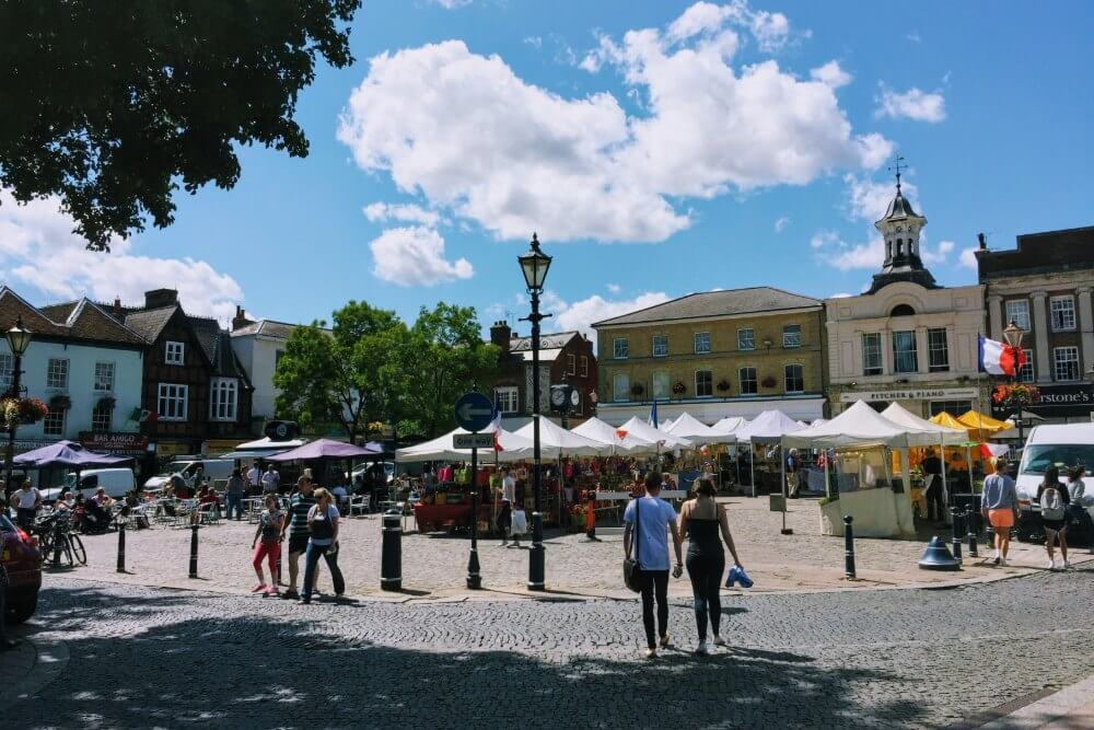 Market Place in Hitchin, home to various events throughout the year