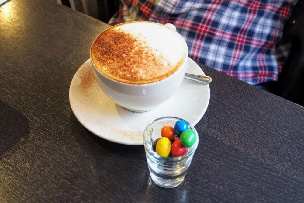 Coffe's at Barley & Beans are served with a side of M&M's