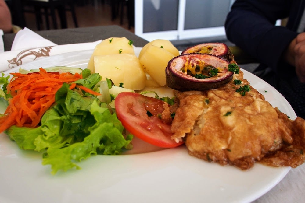 Black Scabbardfish is served in various ways. Here, it's deep fried and served with passion fruit and boiled potatoes