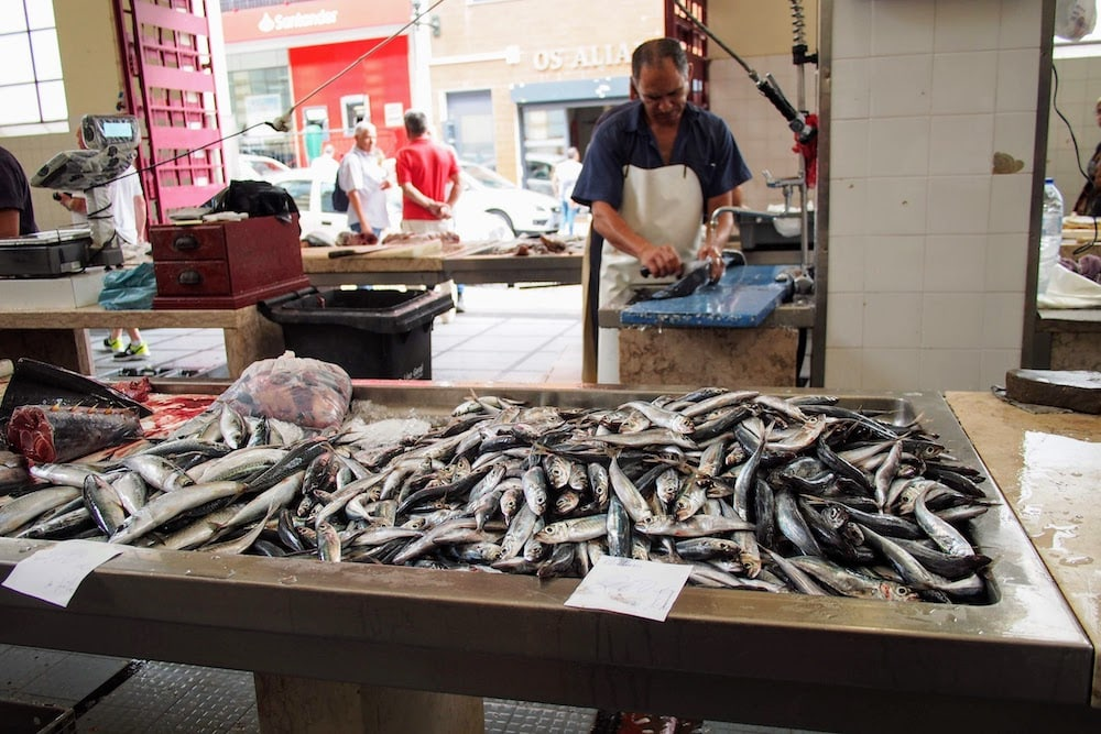 At the back of Native fruit and veg aplenty at Mercardo dos Lavradores is the fish market