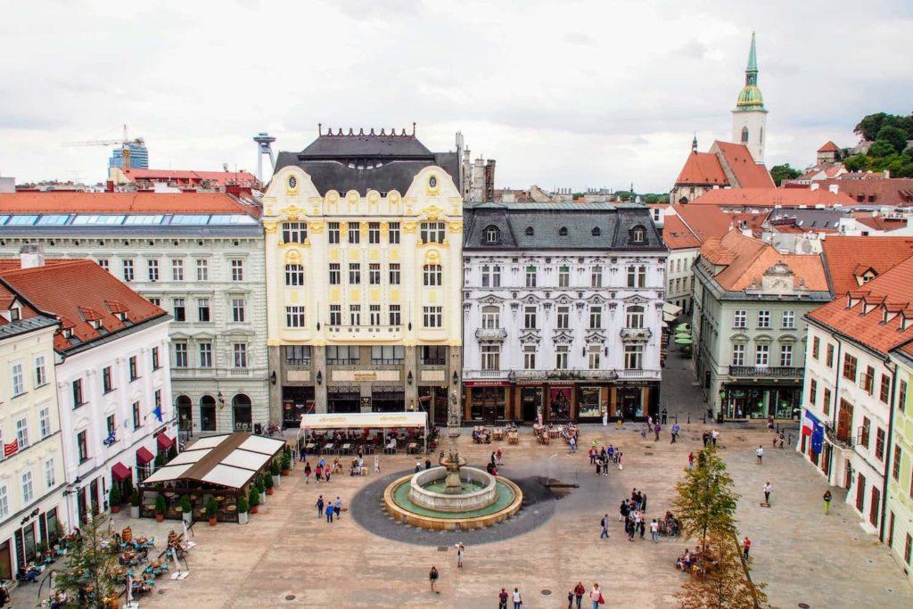 The Main Square in central Bratislava, Slovakia