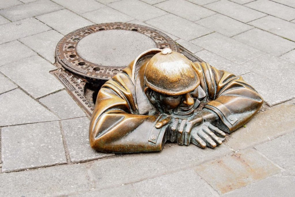 One of the symbols of Bratislava is 'Rubberneck'