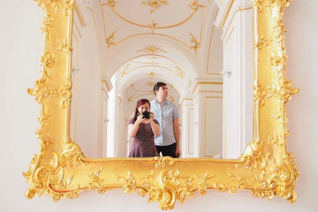 Inside Bratislava Castle, an opulent staircase is great for photos