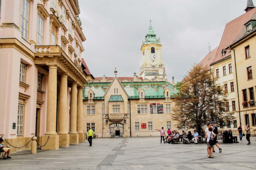 It's possible to climb the clock tower of Bratislava's Old Town Hall