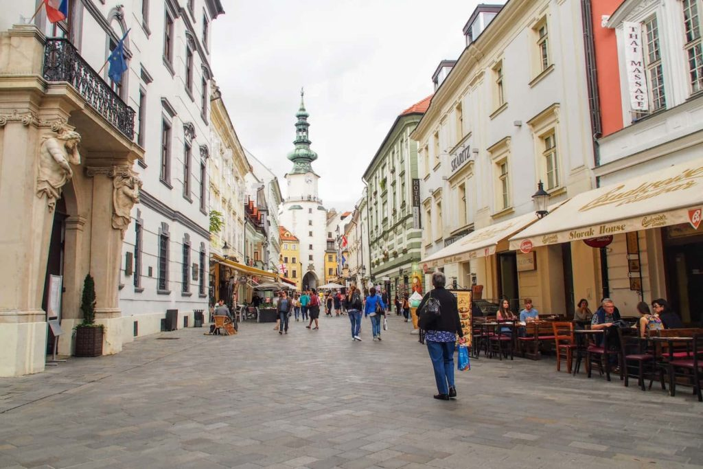 Most of central Bratislava in pedestrianised, like Michalská that leads to Michael's Gate