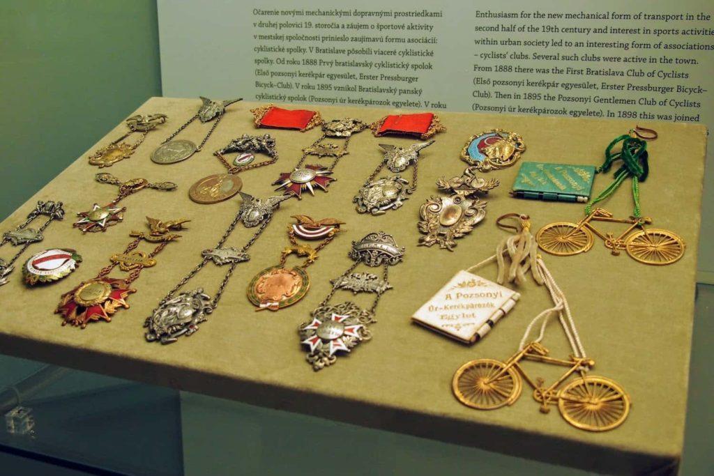Cycling club badges on display in Bratislava