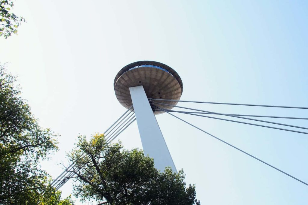 Inside the UFO, there's a restaurant and viewing platform