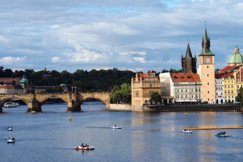 The famous Charles Bridge as seen from Střelecký Island