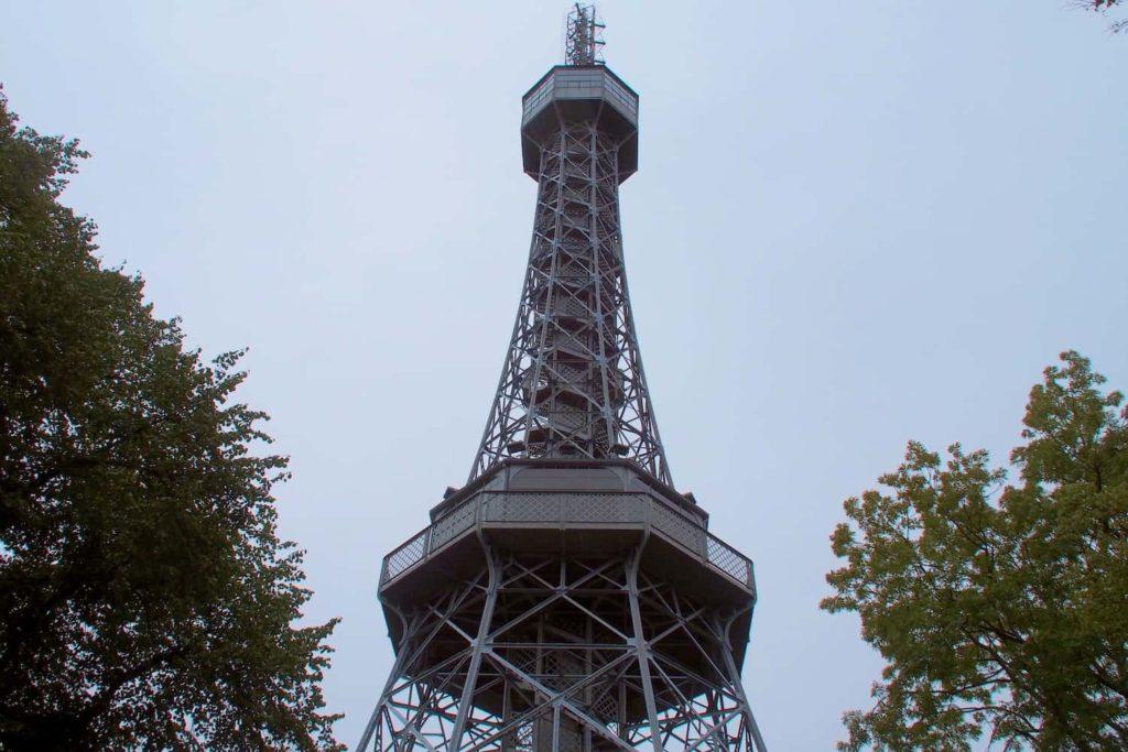 The observation tower at Petřín Gardens offers splendid views