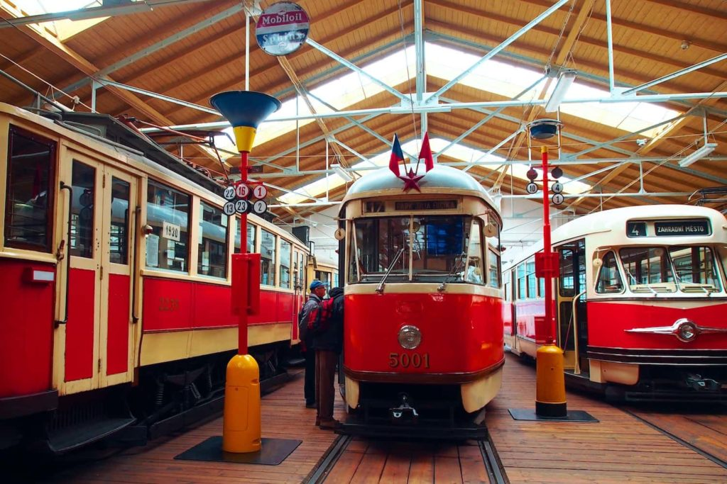 Trams from multiple eras are packed alongside one another
