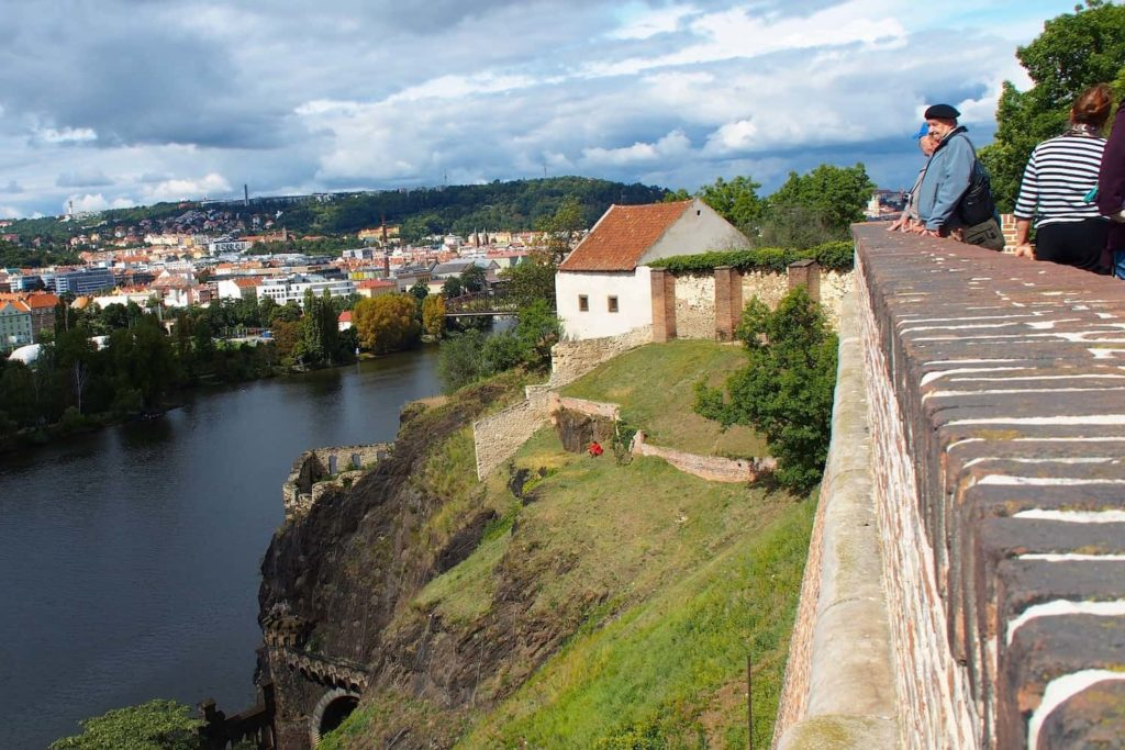 Views of the Vltava River and the city from Vyšehrad