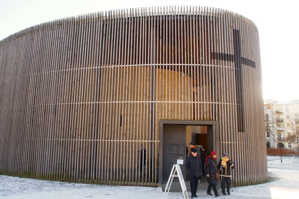 The Chapel of Reconciliation is made from clay mixed with with rubble from the former church