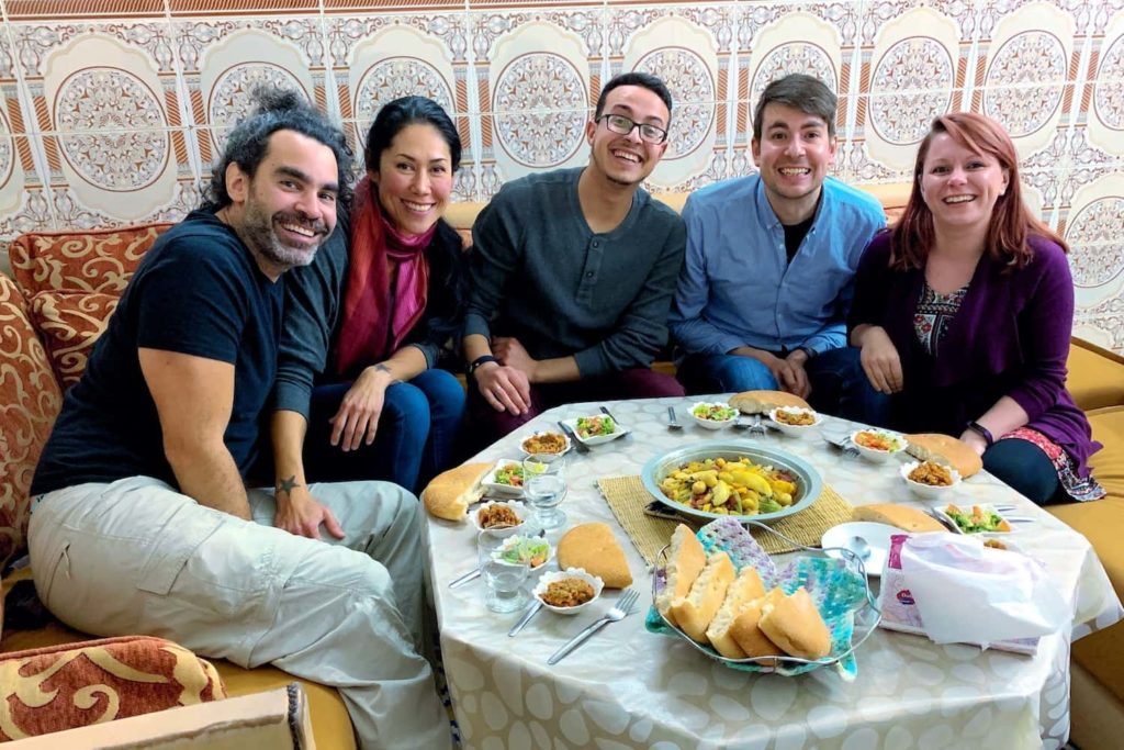Dinner is shared between ourselves, Yassine and two other guests from the USA
