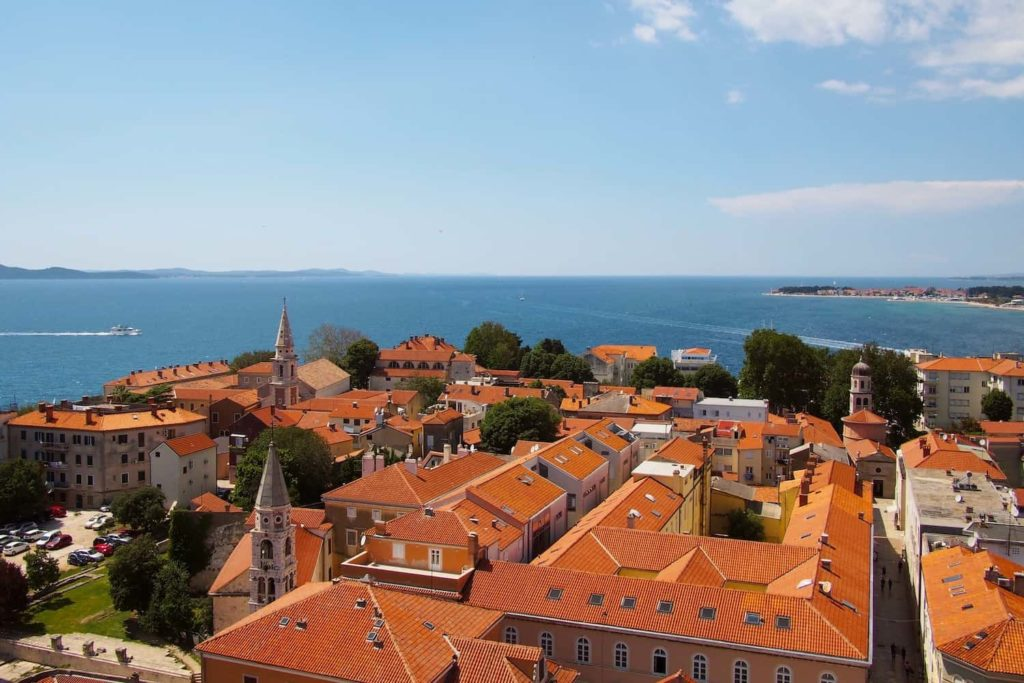 The views from Zadar's bell tower over the red rooftops are gorgeous