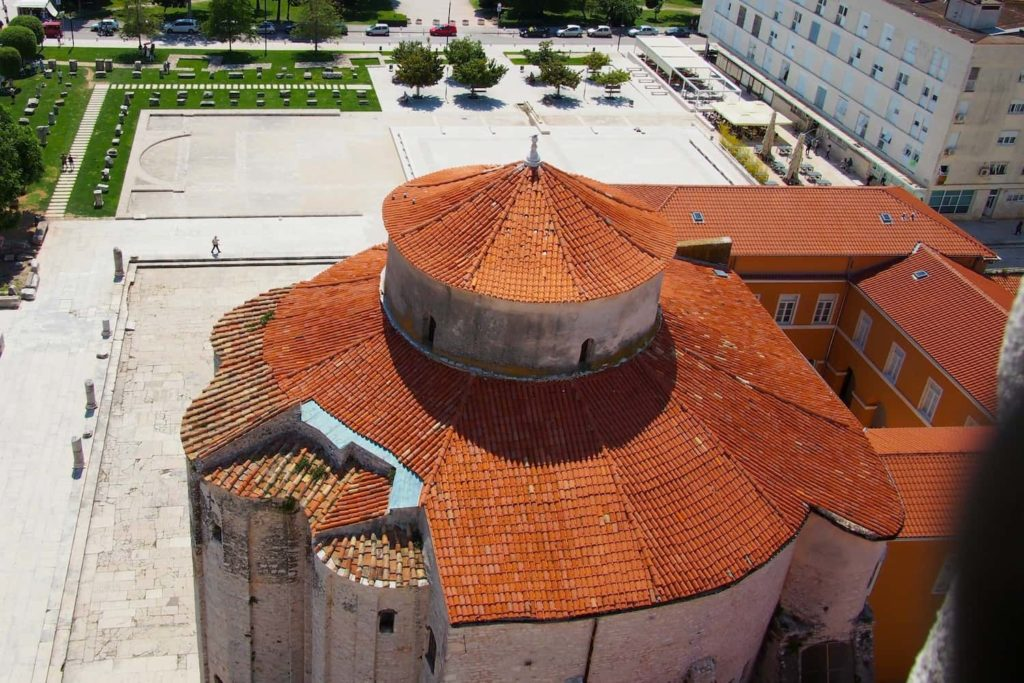 From the bell tower, you can get a great aerial view of the neighbouring Church of St Donatus