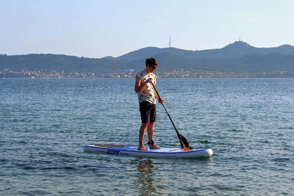 Matt masters the art of stand-up paddle-boarding on the waters around Zadar