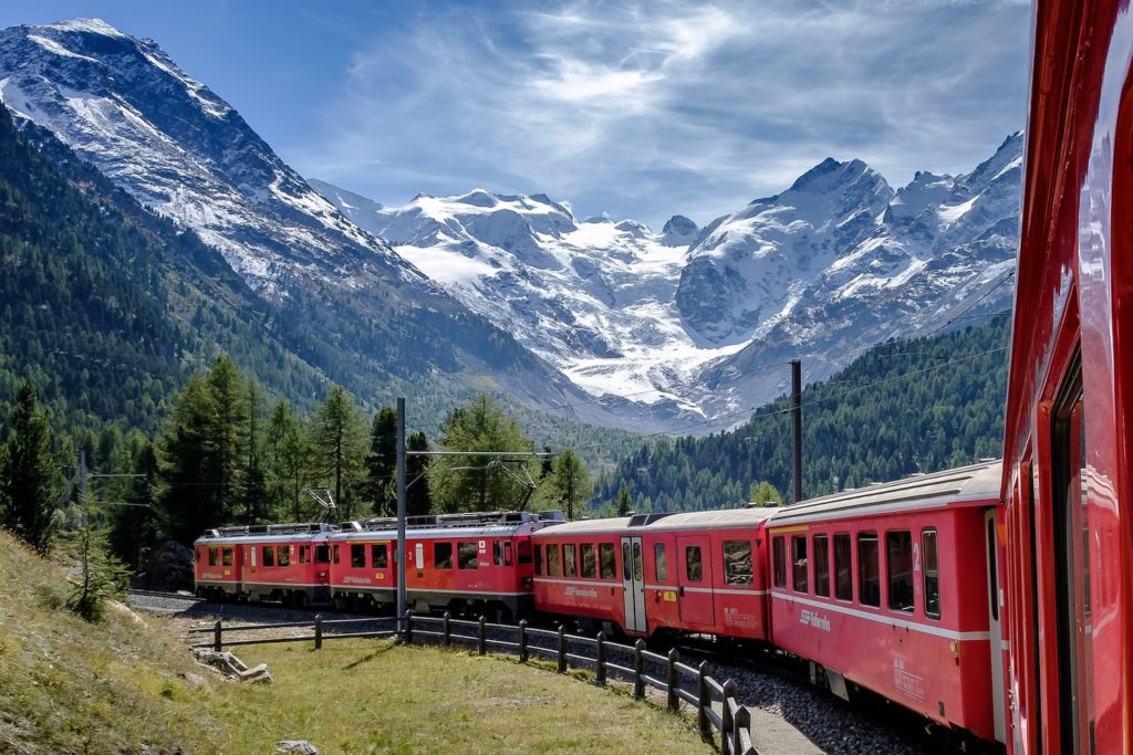 The Bernina Express connects Chur and Poschiavo in Switzerland with Tirano in Italy
