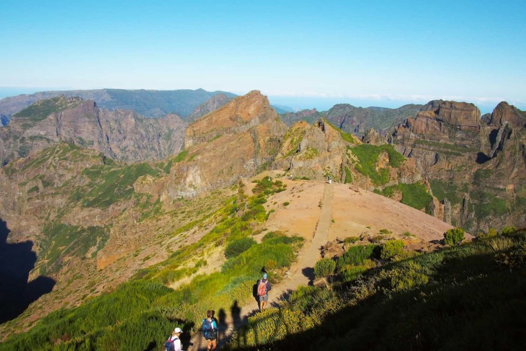 The hiking trail from the summit of Pico do Arieiro is very popular